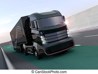 Hybrid truck on highway. 3D rendering image.