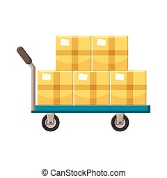 Hand cart with cardboards icon, cartoon style - Hand cart...