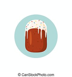 Easter cake icon, cartoon style - Easter cake icon in...