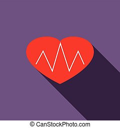 Heartbeat icon, flat style - Heartbeat icon in flat style on...