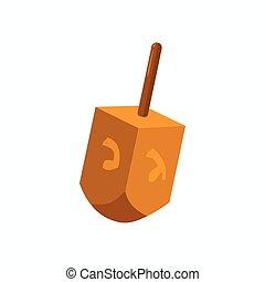 Hanukkah dreidel icon, cartoon style - Hanukkah dreidel icon...