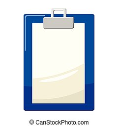 Clipboard with blank paper icon, cartoon style