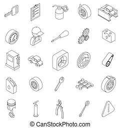 Car service set icons in isometric 3d style isolated on...