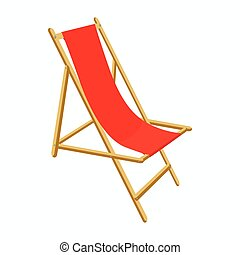 Beach chair icon, cartoon style - Red wooden beach chair...