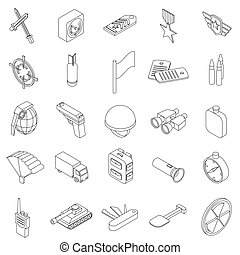 War set icons in isometric 3d style isolated on white...