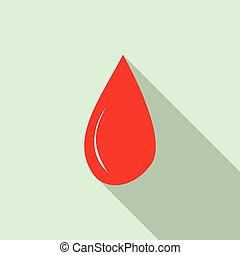 Drop of blood icon, flat style - Drop of blood icon in flat...