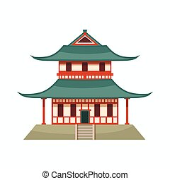 Pagoda icon, cartoon style - Pagoda icon in cartoon style...