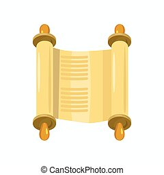 Torah scroll icon, cartoon style - Jewish Torah scroll in...