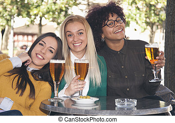 group of friends drinking beer