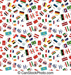 Flags of world sovereign states with names, seamless pattern