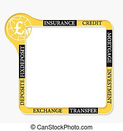 Frame for your text and pound sterling symbol