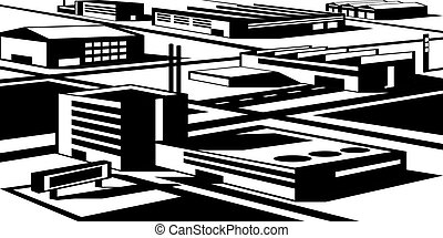 Industrial and economic zone - vector illustration