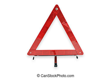 Red plastic warning triangle isolated white background