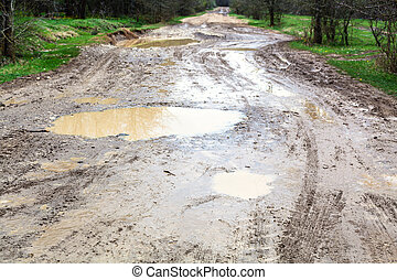 puddles on dirty country road in spring - rainy puddles on...