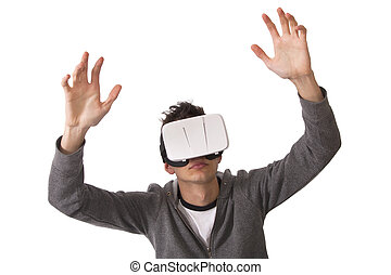boy with virtual reality glasses isolated