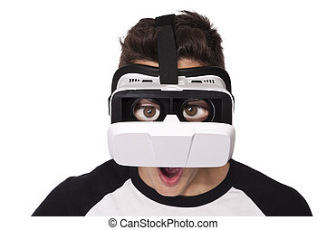 boy with virtual reality viewer