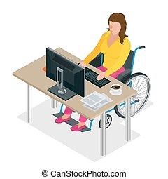 Handicapped woman in wheelchair in a office working on a computer. Flat 3d isometric vector illustration. International Day of Persons with Disabilities.