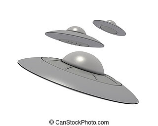 ufo 9 - An isolated 3 gray ufos on white background