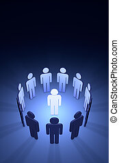 The creative team (symbolic figures of people) - Standing...