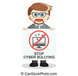 Teacher showing banner to stop cyber bullying