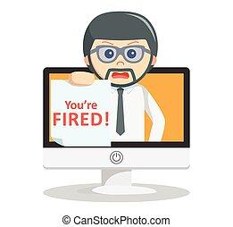 Business man fired text