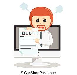 Business man online debt