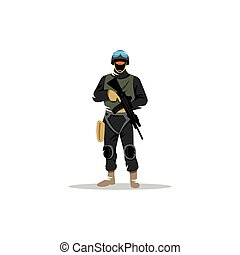 Commando man Police officer in uniform and face mask - Man...