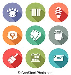 Utilities Icons Set. - Isolated Flat Icons collection on a...
