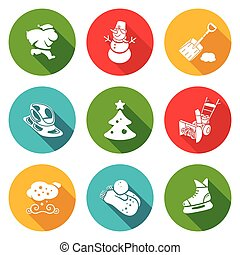 New Years Eve and Christmas Icons Set. - Isolated Flat Icons...