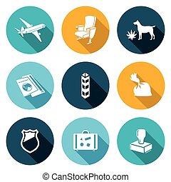 Airplane Drug trafficking Icons Set. - Isolated Flat Icons...
