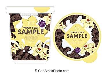 Vanilla chocolate Yogurt Packaging Design Template. Yogurt...