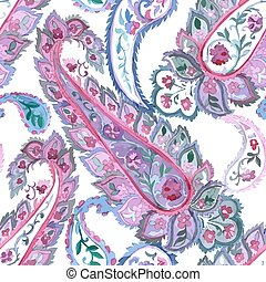 Watercolor paisley seamless background - Watercolor Paisley...