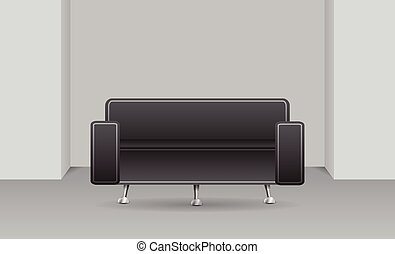 Dark sofa in a room