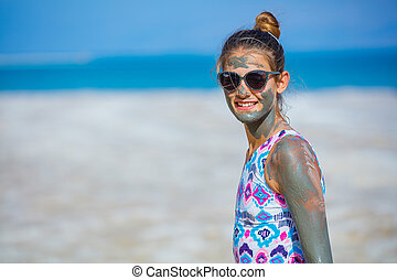 Girl At The Dead Sea, Israel. - Beautiful girl taking Mud...