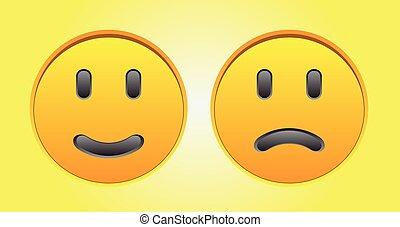 Happy and sad smiley