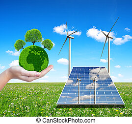 Concept of environmental protection - Solar energy panels...