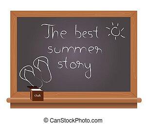 The best summer story text on a school blackboard written...