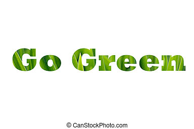 Go Green caption isolated on white
