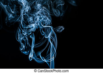 white smoke on black background with copy space