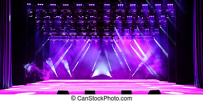 Concert stage - Illuminated empty concert stage with purple...