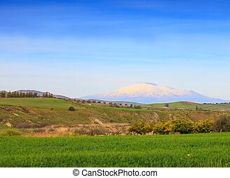 Volcano Etna  - View of Etna volcano and Sicily field