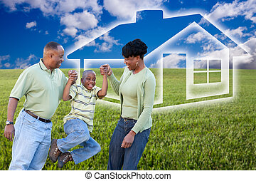 Family Over Grass Field and Home