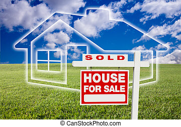 Sold Sign Over Clouds and Home - Sold For Sale Real Estate...