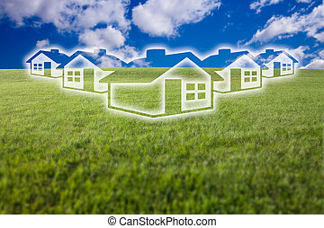 Dreamy Houses Icon Over Grass Field and Sky