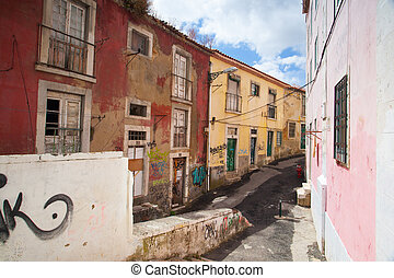 Typical street with old and unrepaired homes in central...