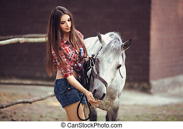 Woman and Horse Casual Sexy Style - Portrait of young...