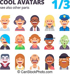 Set of cool flat avatars - Set of cool avatars Different...