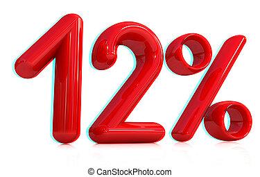 3d red quot;12quot; - twelve percent 3D illustration...