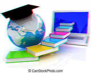 Global On line Education. Anaglyph. View with red/cyan glasses to see in 3D. 3D illustration