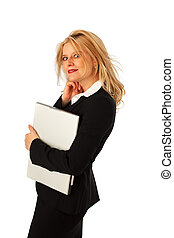 business woman with a notebook computer
